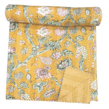Load image into Gallery viewer, Sunshine Kantha quilt - Queen/King