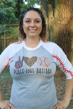 Peace Love & Baseball 3/4 Sleeve