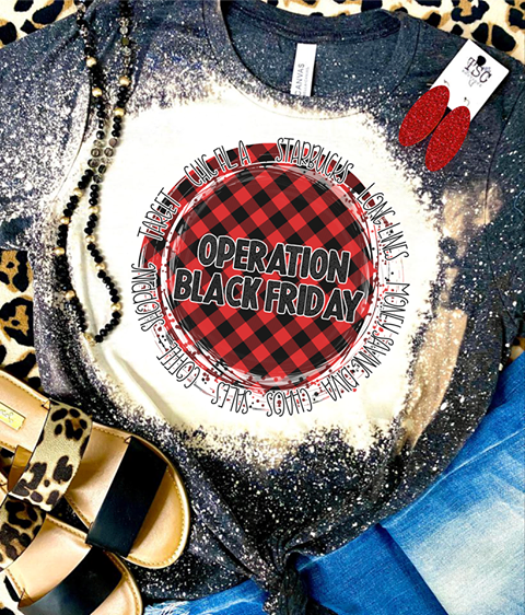 Operation Black Friday Red Plaid Bleached Tee