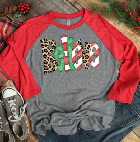 Christmas Believe Leopard Red 3/4 Sleeve