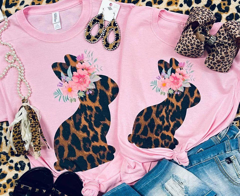 Kids Floral and Leopard Bunny Pink Tee