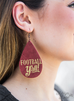 Maroon Football Y'all Dangle Earrings