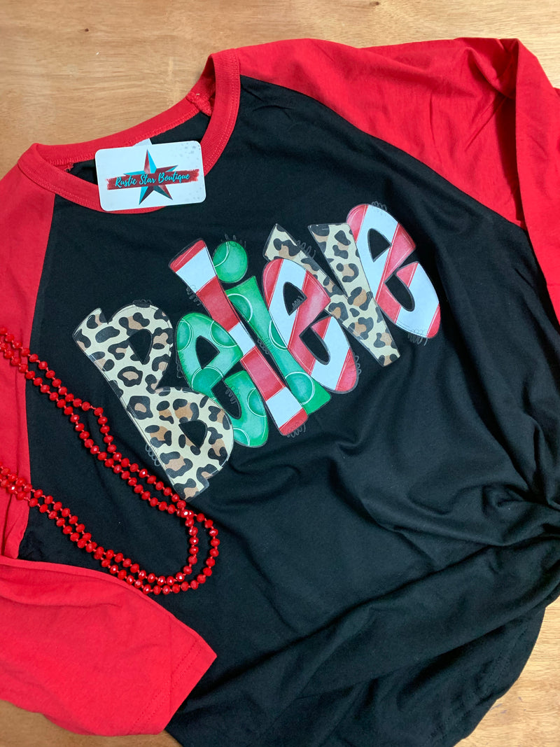 Christmas Believe Leopard Black Body With Red 3/4 Sleeve