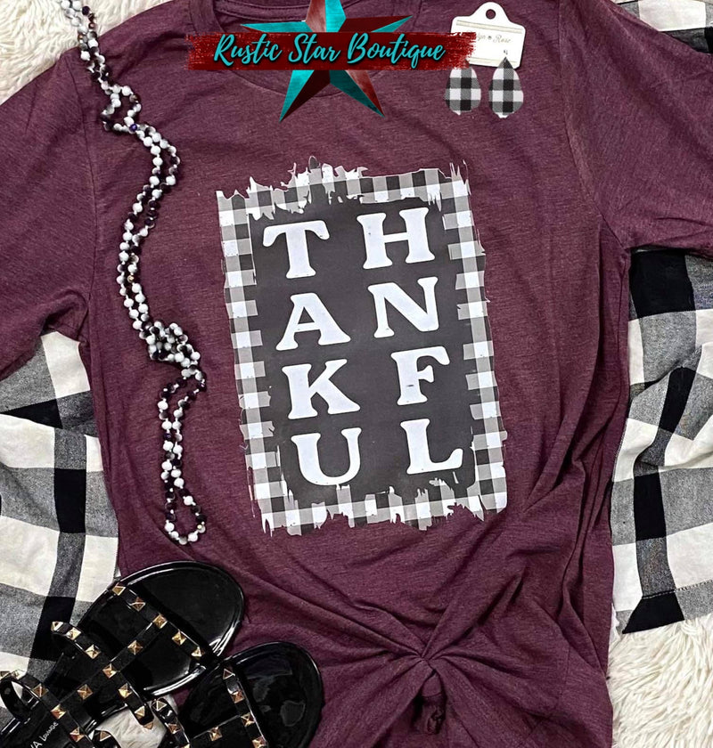 Thankful DTG Custom Maroon Tee
