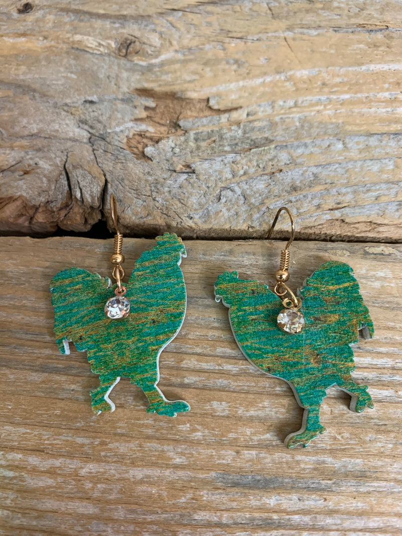 Turquoise Brushed Rooster Cutout Earrings