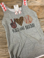 Love Peace Baseball Tank Top