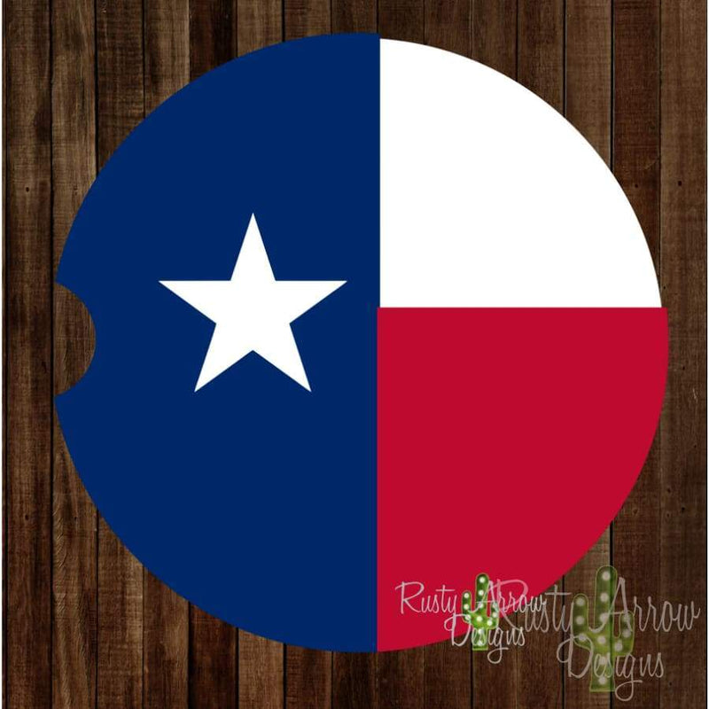Red White and Blue Texas Car Coaster