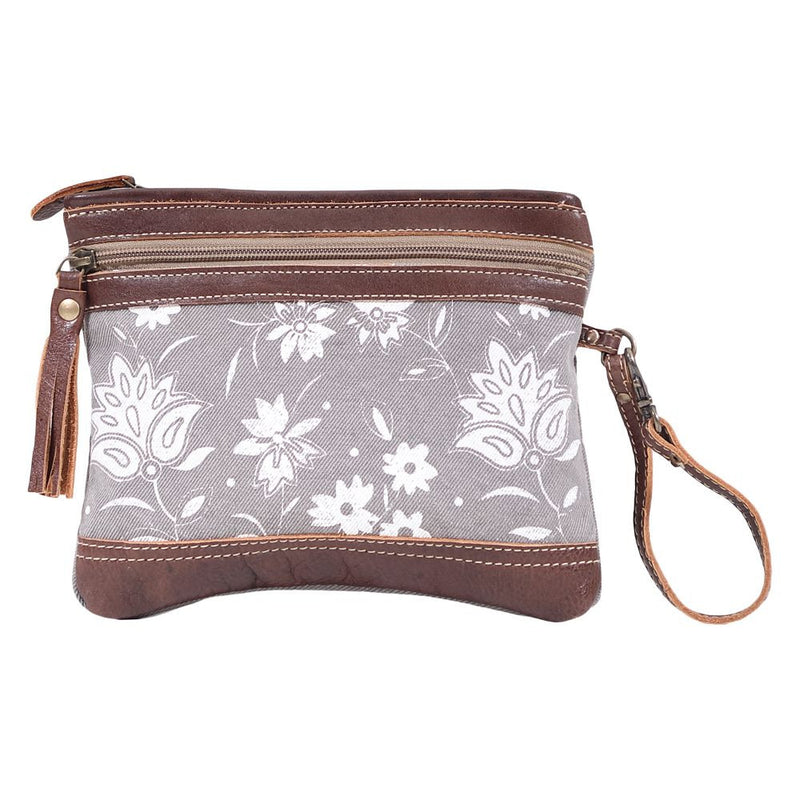 Petals On Grey Pouch Wristlet
