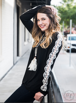 Black Long Sleeve Blouse with Lace Accent