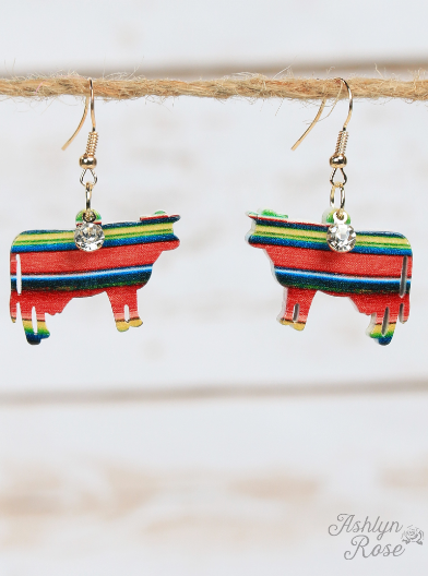 Serape Steer Cutout Earrings