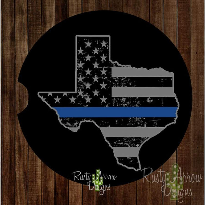 Texas Thin Blue Line Car Coaster