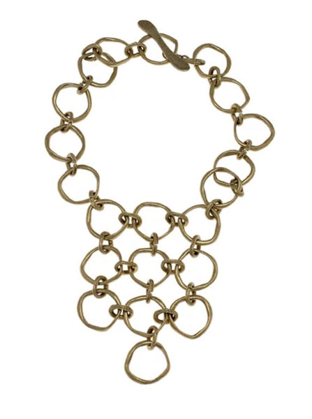 Avant Garde Fanfan Plastron Necklace in Brass
