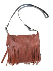 Dean B10 Fringe Shoulder Bag in Cognac Leather