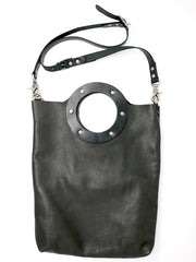 Dean B32 Small Circle Tote in Black Leather