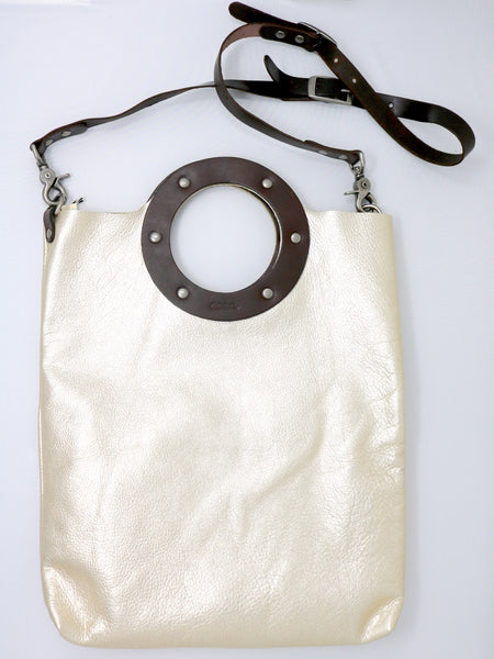 Dean B32 Small Circle Tote in Platinum Leather