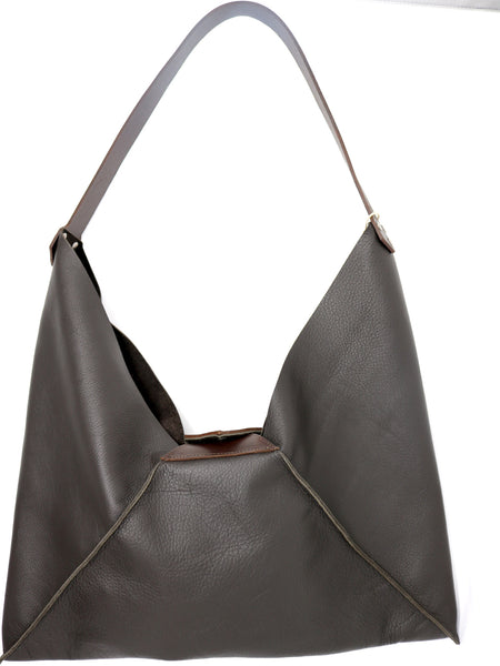 Dean B44 Angled Shoulder Bag in Dark Brown Leather