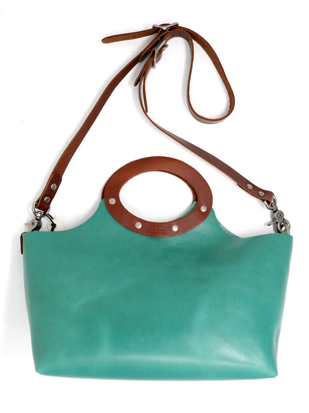 Dean Shortie Circle Tote in Turquoise Leather