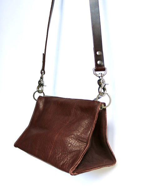 Dean Triangle Zip Bag in Brown Leather