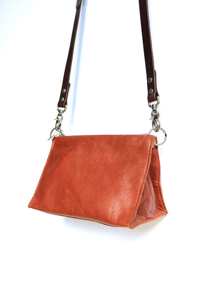 Dean Triangle Zip Bag in Cognac Leather