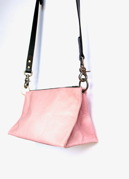 Dean Triangle Zip Bag in Pink Leather