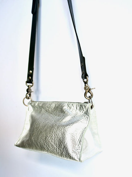 Dean Triangle Zip Bag in  Silver Leather