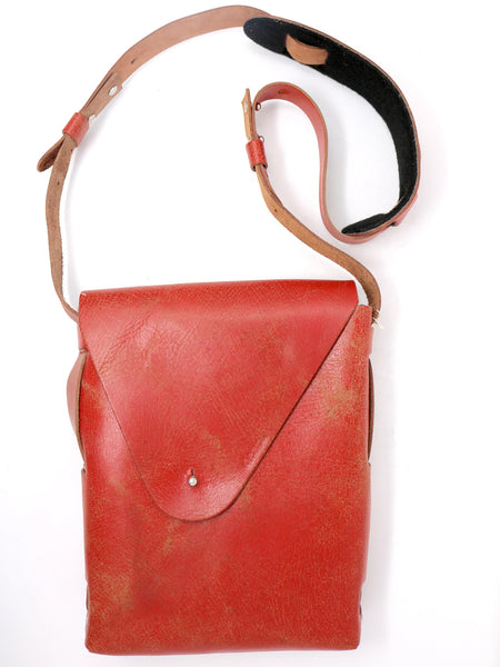 Dean UB01 Vertical Messenger Bag in Red Leather