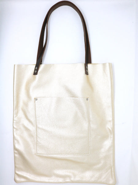 Dean Shop Tote Bag in Platinum Leather
