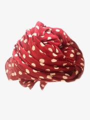 Halo and Swan Dabu Dot Scarf in Red and White Organic Cotton