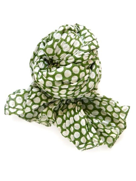 Halo and Swan Polka Scarf in Emerald and Cream Organic Cotton