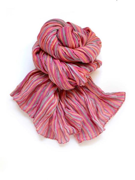 Halo and Swan Paris Stripe Scarf in Rose and Tangerine Organic Cotton
