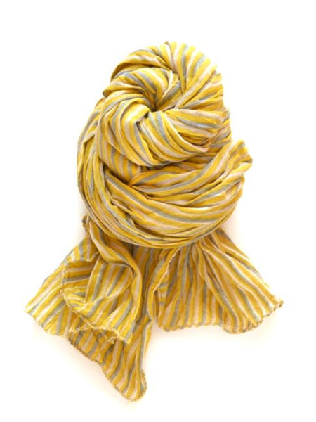 Halo and Swan Paris Stripe Scarf in Lemon, Gray and White Organic Cotton