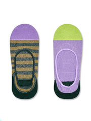 Happy Socks 2 pk Claudia Invisible Socks in green and purple
