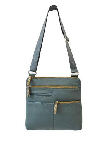 Highway Pete Mini Crossbody Bag in Steel Blue and Ochre Nylon