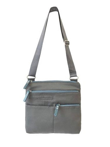 Highway Pete Mini Crossbody Bag in Stone and Light Blue Nylon