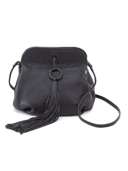 Hobo Birdy Crossbody Bag in Black Velvet Hide Leather