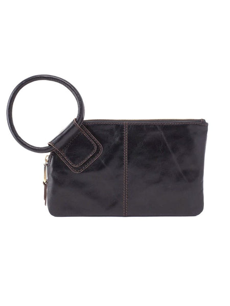 Hobo Sable Wristlet Clutch in Black Leather