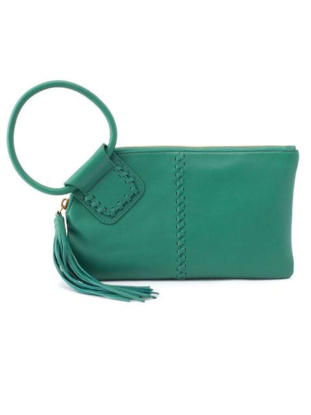 Hobo Sable Wristlet Clutch in Garden Green Leather