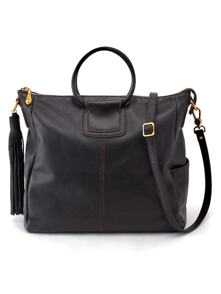 Hobo Sheila Large Satchel in Black Vintage Hide Leather