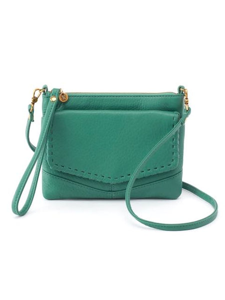 Hobo Stroll Crossbody Bag in Garden Green Velvet Hide Leather