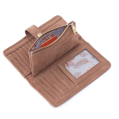 Hobo Torch Wallet in Metallic Brass Leather