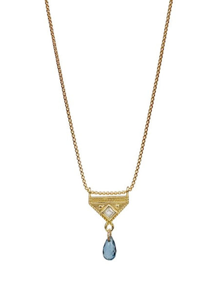 Lulu Designs Costa Necklace in London Blue Topaz and Gold