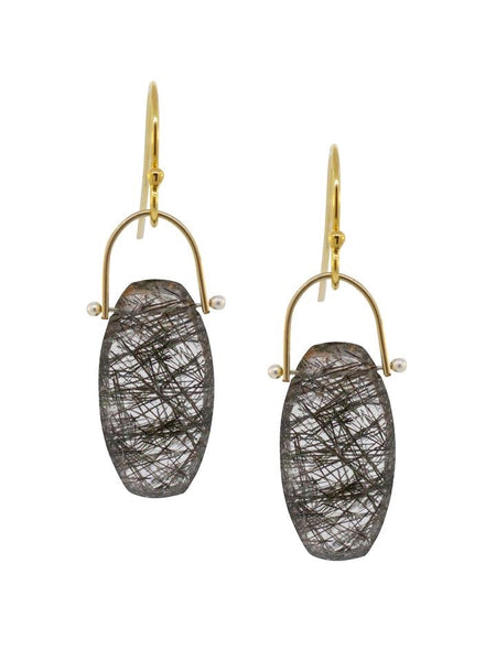 Lulu Designs Linden Earrings in Tourmilated Quartz