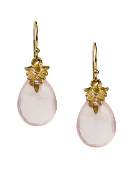 Lulu Designs Lombard Earrings in Rose Quartz