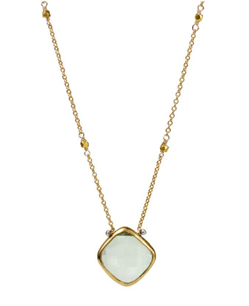 Lulu Designs Lucia Necklace in Green Amethyst and Gold