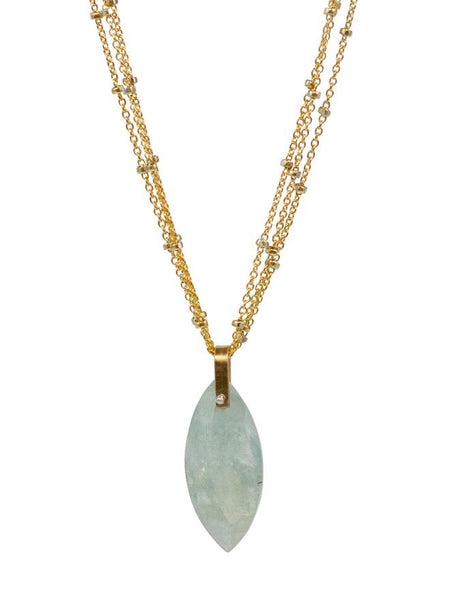 Lulu Designs Siren Necklace in Aquamarine and Gold