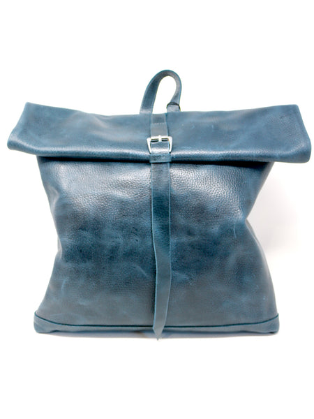 Meron Roll Top Backpack in Blue Leather
