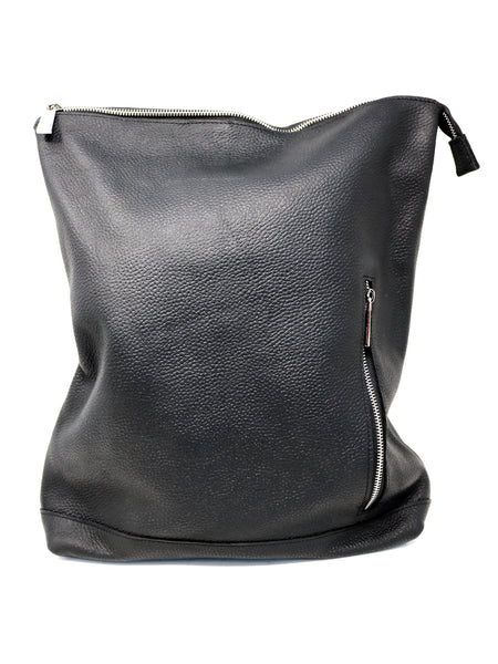 Meron Large Zip Top Backpack in Black Leather