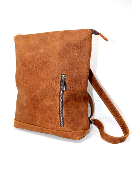 Meron Small Zip Top Backpack in Brown Leather