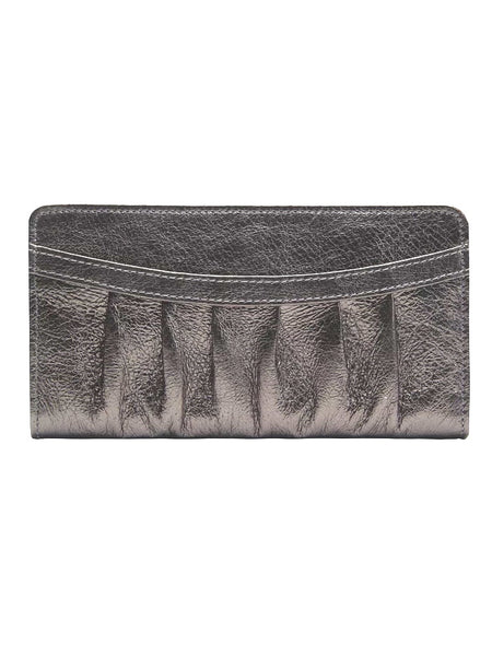 Tusk Orissa Evening Pleated Wallet in Pewter Leather