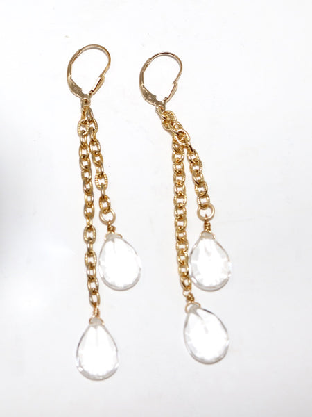 Xenia Mara Rock Crystal and Vintage Chain Earrings